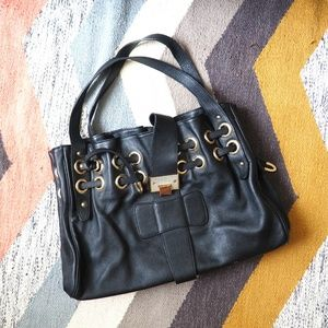 Jimmy Choo Ramona Black Leather Shoulder Bag Purse